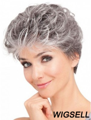 Lace Front Synthetic Grey Short Wavy Elderly Lady Hair Wigs