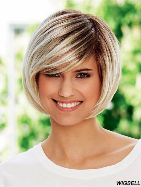 Chin Length Straight Bobs Blonde Hairstyles 100% Hand-tied Wigs