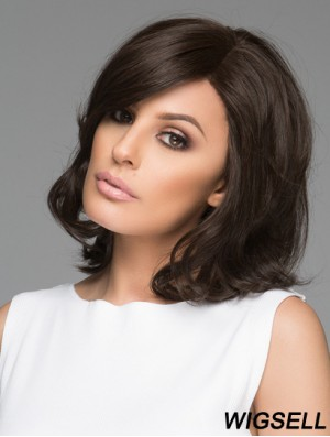 Shoulder Length Wavy Bobs Black Stylish 100% Hand-tied Wigs