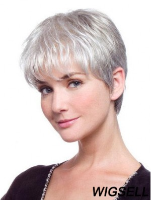 Grey Wig Mono Short Women Wig UK Straight Hair