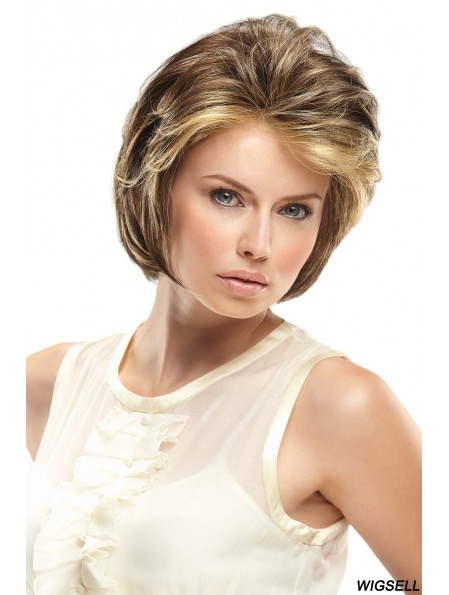 Monofilament Hand Tied Wigs Lace Front Blonde Color Short Length Wavy Style