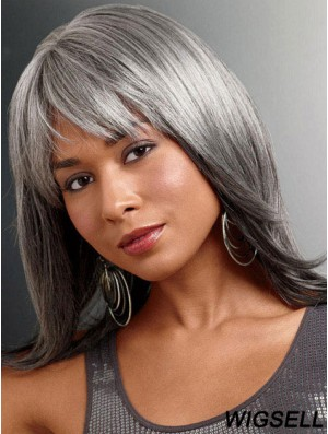 Wigs For The Older Lady UK With Lace Front Straight Style Grey Cut