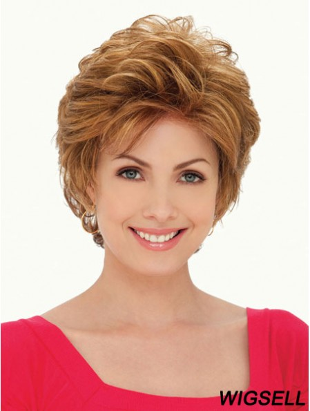 Synthetic Lace Front Wigs UK Layered Cut Cropped Length Auuburn Color