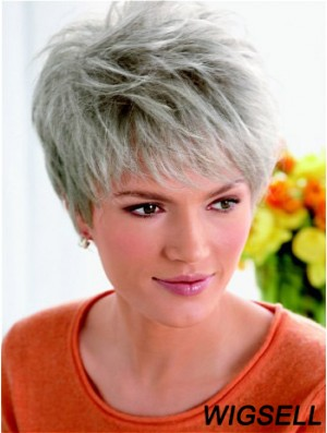 Synthetic Fashion Cropped Straight Grey Wigs