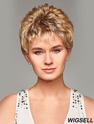 Mono Hair Toppers UK Cropped Length Blonde Color Curly Style Boycuts