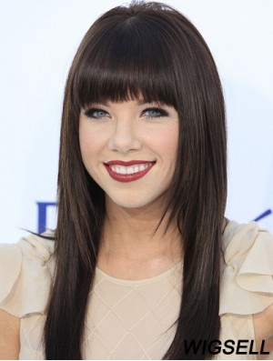 Human Hair Carly Rae Jepsen Wigs 100% Hand Tied Black Color With Bangs