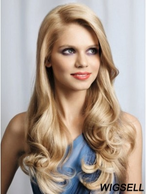Ladies Monofilament Wigs Lace Front Wavy Style Blonde Color
