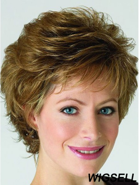 Monofilament Lace Front Wigs Blonde Color Short Length Layered Cut