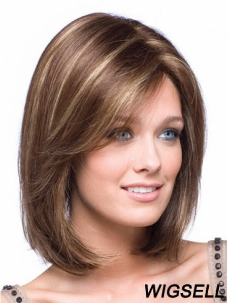 Chin Length Lace Front Bobs Straight Brown Petite Monofilament Wigs UK