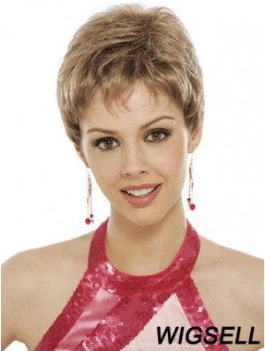 Suitable Blonde Cropped Wavy Boycuts Lace Front Wigs