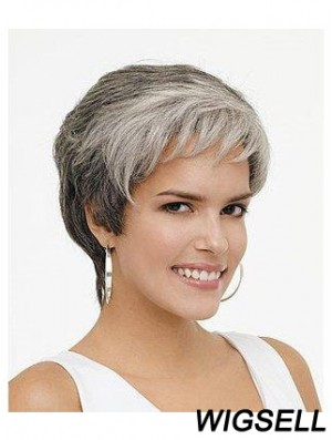 Synthetic Natural Short Wavy Grey Wigs