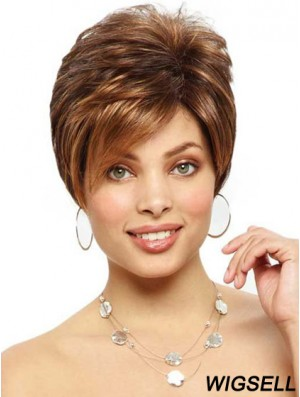 Designed Brown Cropped Straight Boycuts Lace Front Wigs