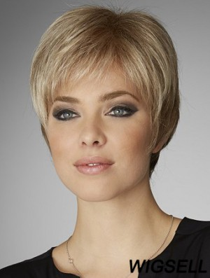 Blonde 8 inch Hairstyles Cropped Straight Boycuts Lace Wigs