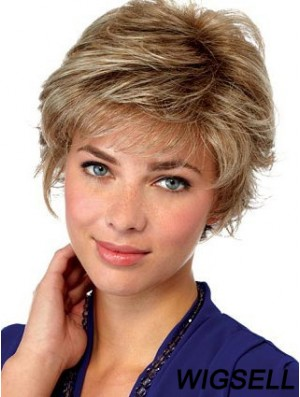 Blonde Wigs Short Wavy Wig Lace Front UK for Old Women