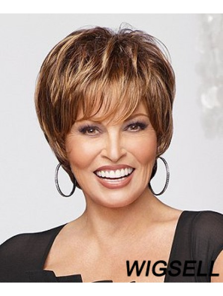 Online Auburn Cropped Straight Layered Monofilament Wigs