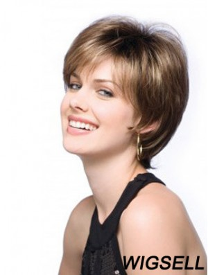 Beautiful Brown Cropped Straight Boycuts Lace Front Wigs