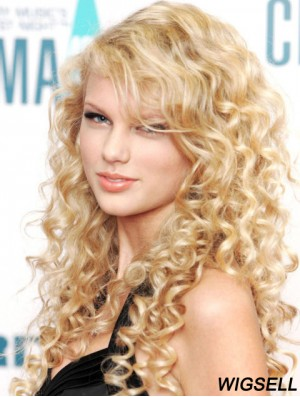 100% Hand-tied With Bangs Curly Long Blonde Stylish Taylor Swift Wigs