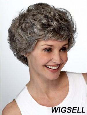 Synthetic Popular Short Wavy Grey Wigs