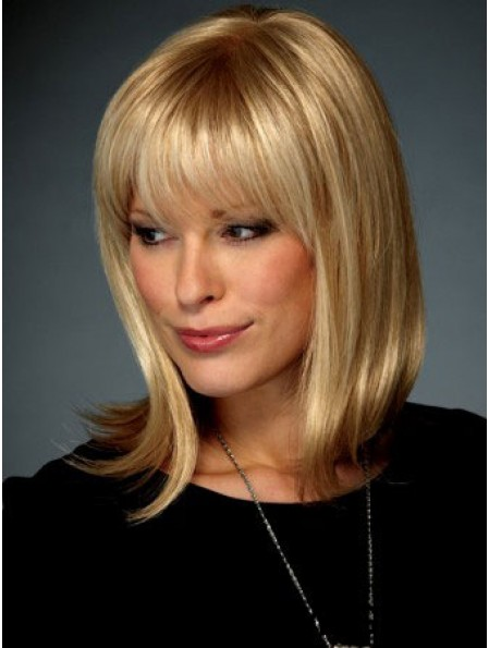 Straight With Bangs Shoulder Length Blonde Affordable Lace Front Wigs