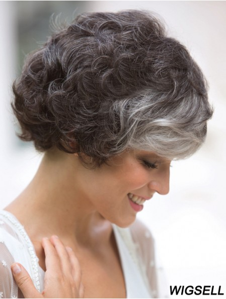 Curly Wig Classic Short Mono Wig For Ladies Cheap