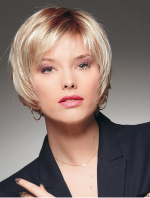 Short Straight With Bangs Blonde Natural 100% Hand-tied Wigs