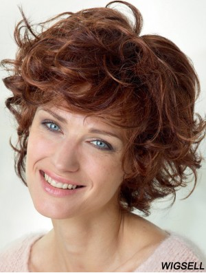 Curly With Bangs Shoulder Length Auburn Popular Lace Front Wigs