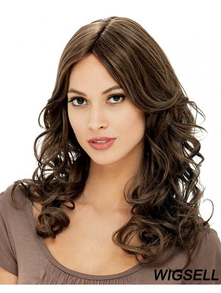 Flexibility Brown Long Curly With Bangs 18 inch Human Hair Wigs
