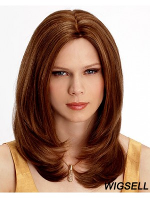 Shoulder Length Wavy Without Bangs Auburn Cheapest 100% Hand-tied Wigs