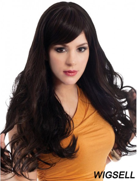 Wavy With Bangs Long Black Sassy Lace Front Wigs