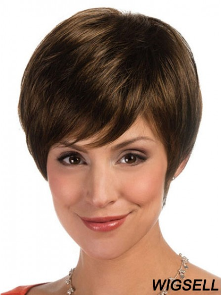 Comfortable Brown Cropped Straight Boycuts Lace Front Wigs