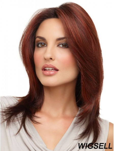 Straight Without Bangs Shoulder Length Red Cheap Lace Front Wigs