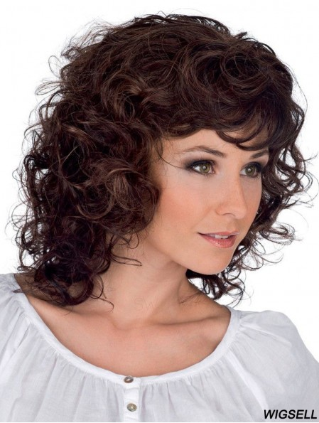 Curly Brown Fashionable Shoulder Length Classic Wigs