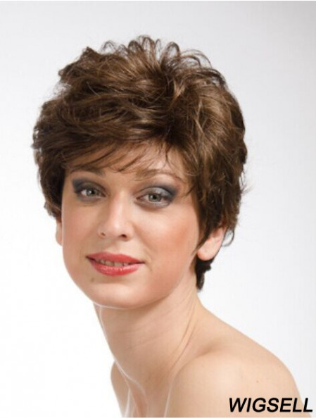 Brown 8 inch Sassy Short Wavy Layered Lace Wigs
