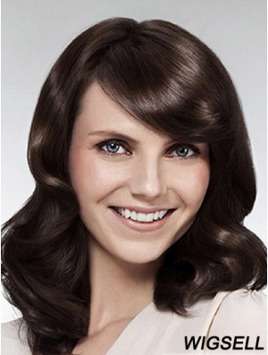 Wavy With Bangs Long Brown Popular Lace Front Wigs