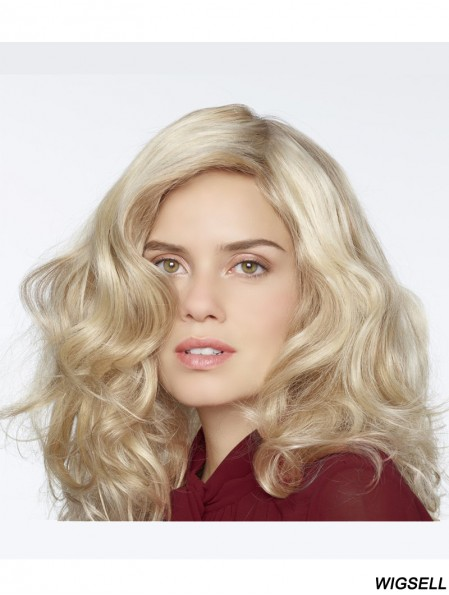 Synthetic Blonde Curly 100% Hand Tied Long Mono Curly Wigs