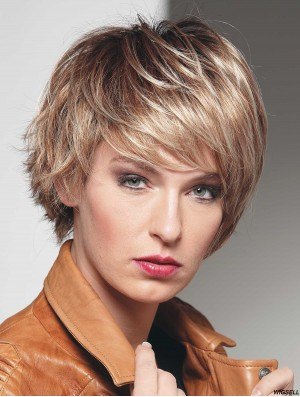 Short Straight With Bangs Blonde Affordable 100% Hand-tied Wigs