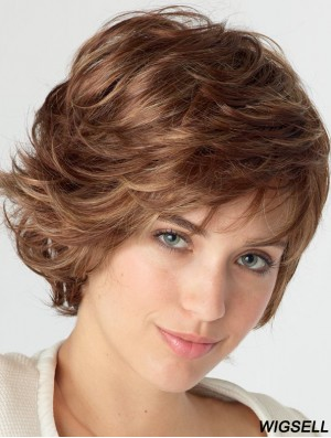 Wavy With Bangs Shoulder Length Auburn Natural Lace Front Wigs
