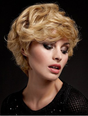 Wavy With Bangs Short Blonde Soft Lace Front Wigs