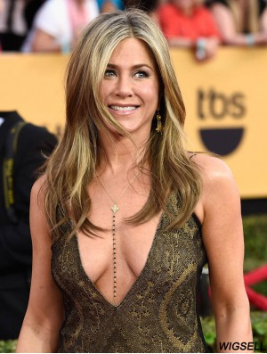 Long Wavy With Bangs 100% Hand-tied Blonde Flexibility 18 inch Jennifer Aniston Wigs