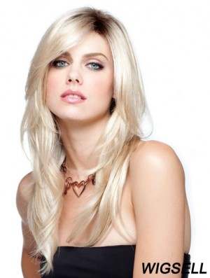 Straight With Bangs Long Blonde Modern Lace Wigs