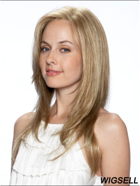 Straight Without Bangs Long Blonde High Quality Lace Front Wigs
