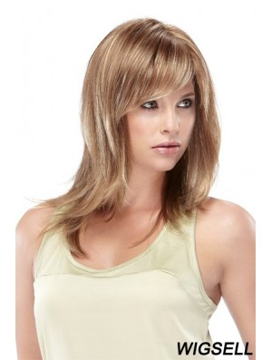 Straight With Bangs Shoulder Length Blonde Designed Lace Front Wigs