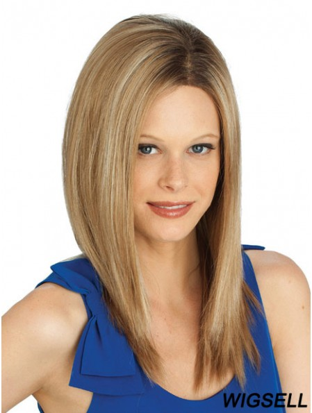 Straight Without Bangs Long Blonde Cheap Lace Front Wigs