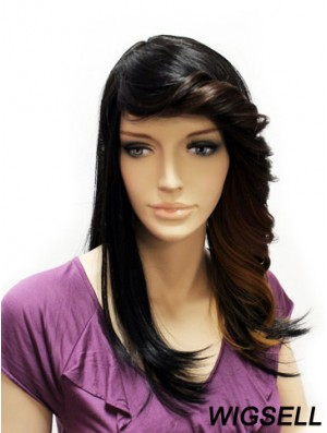 Straight With Bangs Long Black Suitable Lace Front Wigs