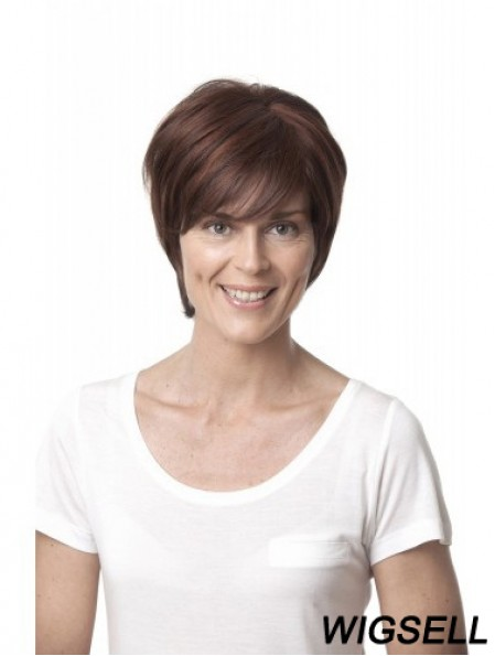 """Auburn 10"""" Suitable Chin Length Straight Layered Lace Wigs"""
