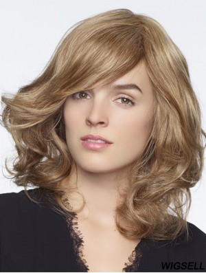 Long Curly With Bangs Blonde Style 100% Hand-tied Wigs