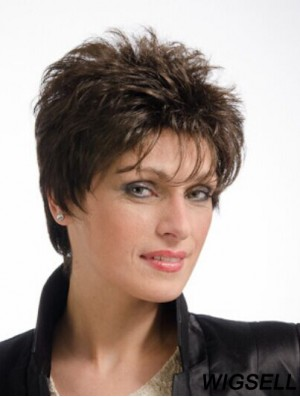 """Brown 8"""" Cheap Cropped Straight Boycuts Lace Wigs"""