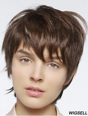 Straight Boycuts Cropped Auburn Stylish Lace Front Wigs