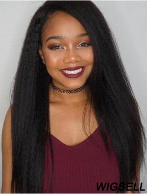 """22"""" Black Kinky Without Bangs Remy Human Hair 360 Lace Wigs"""