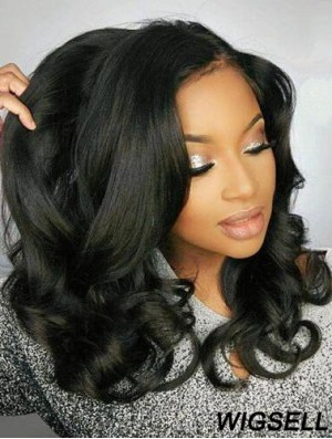 """Remy Human Hair Black Wavy 18"""" Without Bangs 360 Lace Wigs"""